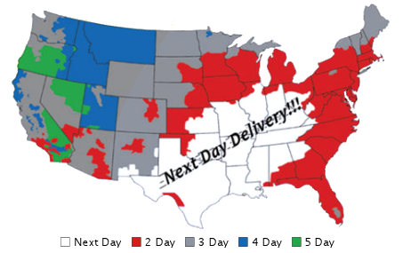 US map of delivery times